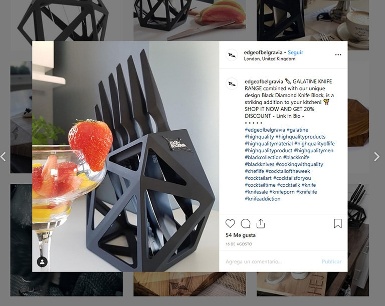 edge of belgravia's instagram post with call to action