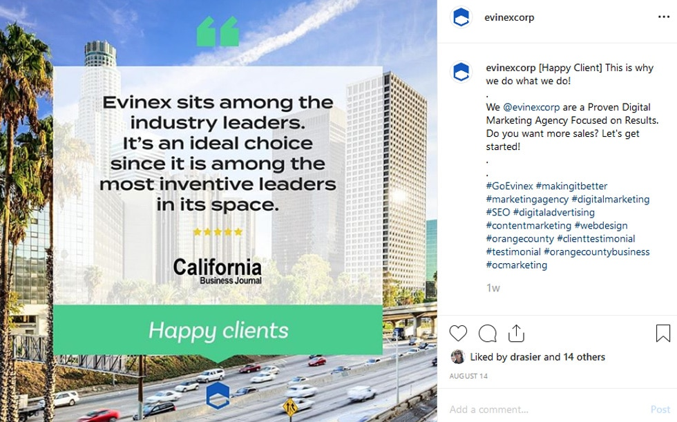 evinex's instagram post showing a california business journal testimonial and location hashtags