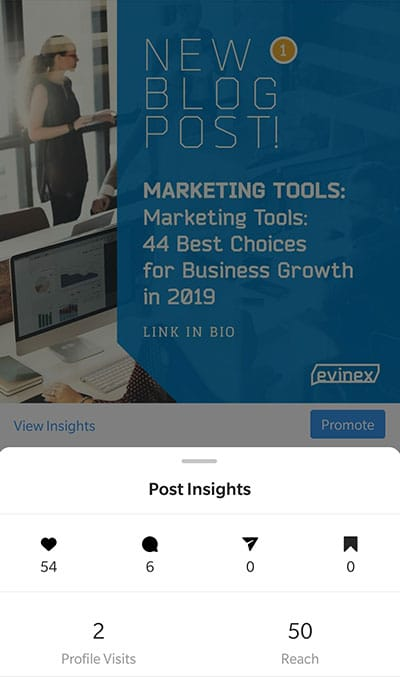 evinex' instagram new post showing engagement insights