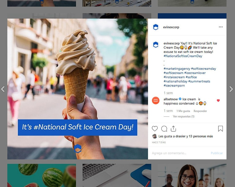 evinex' instragam happy icecream national day post
