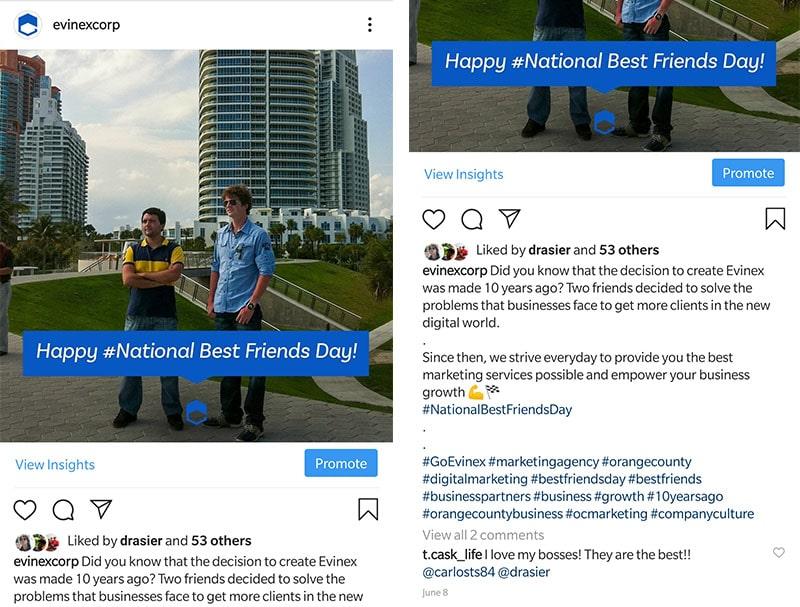 instagram evinex national best friends day hashtags