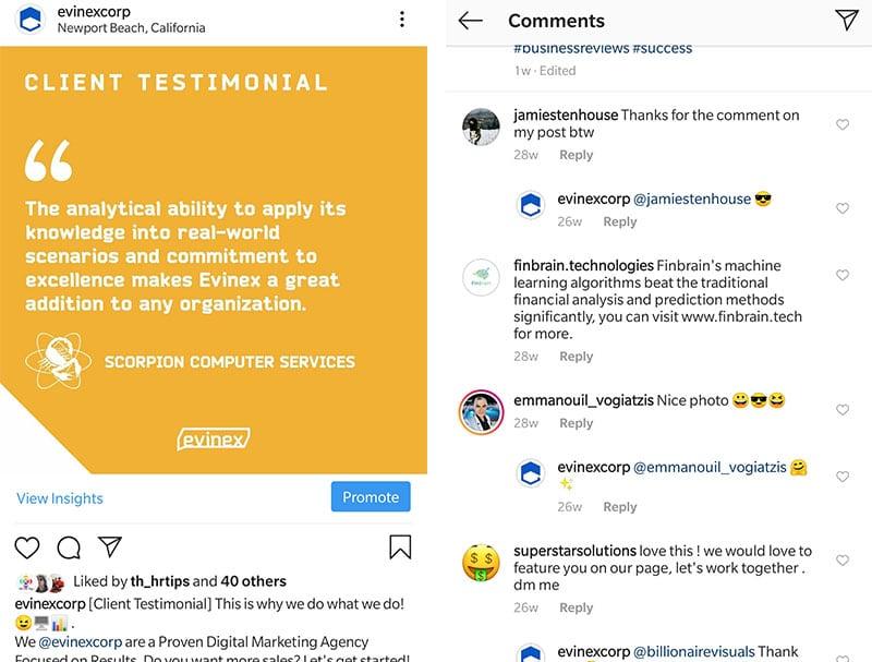instagram evinex testimonial scorpion comments