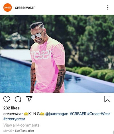 creaerwear instagram post featuring juan magan