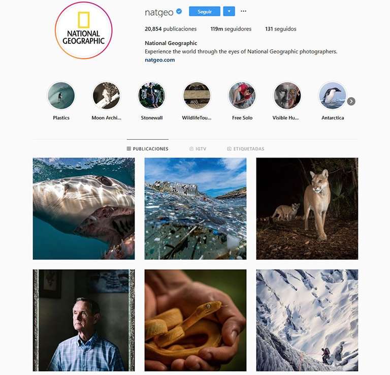 national geographic's instagram profile