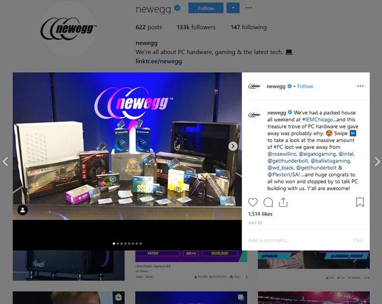 instagram newegg give away sweepstakes