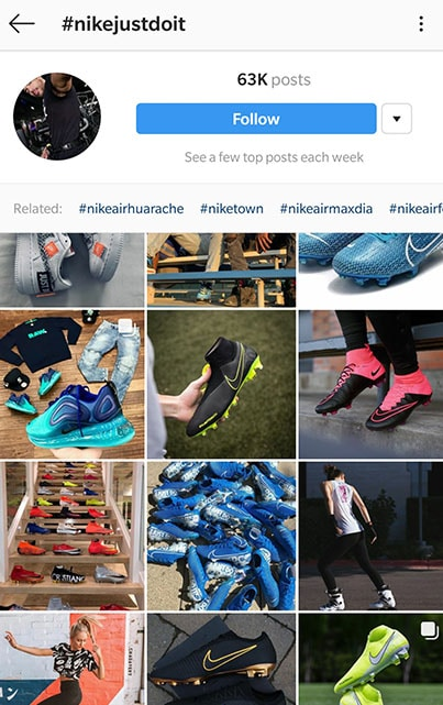 Nike's Just Do It Hashtag search results on Instagram