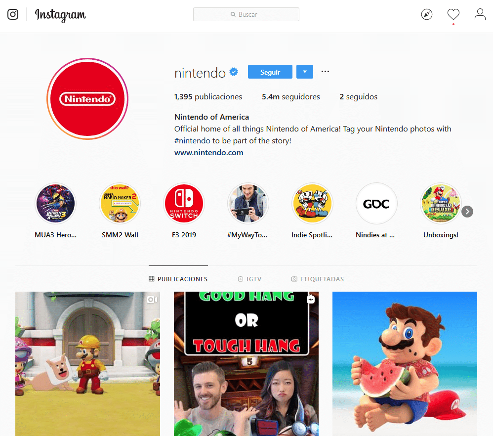 Instagram Nintendo's profile