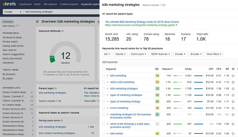 Ahrefs Keyword overview for b2b marketing strategies