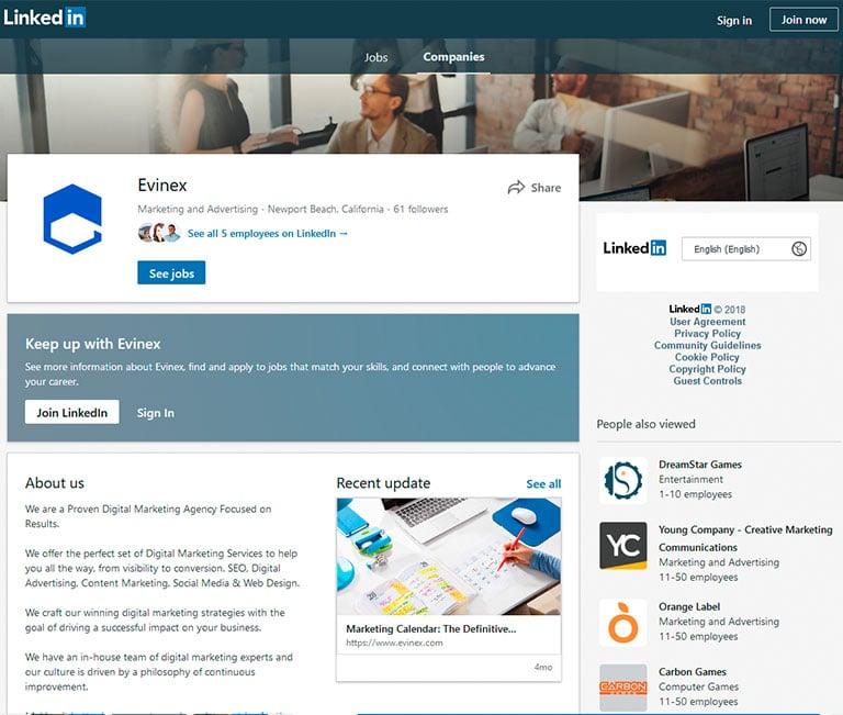 LinkedIn Evinex company profile