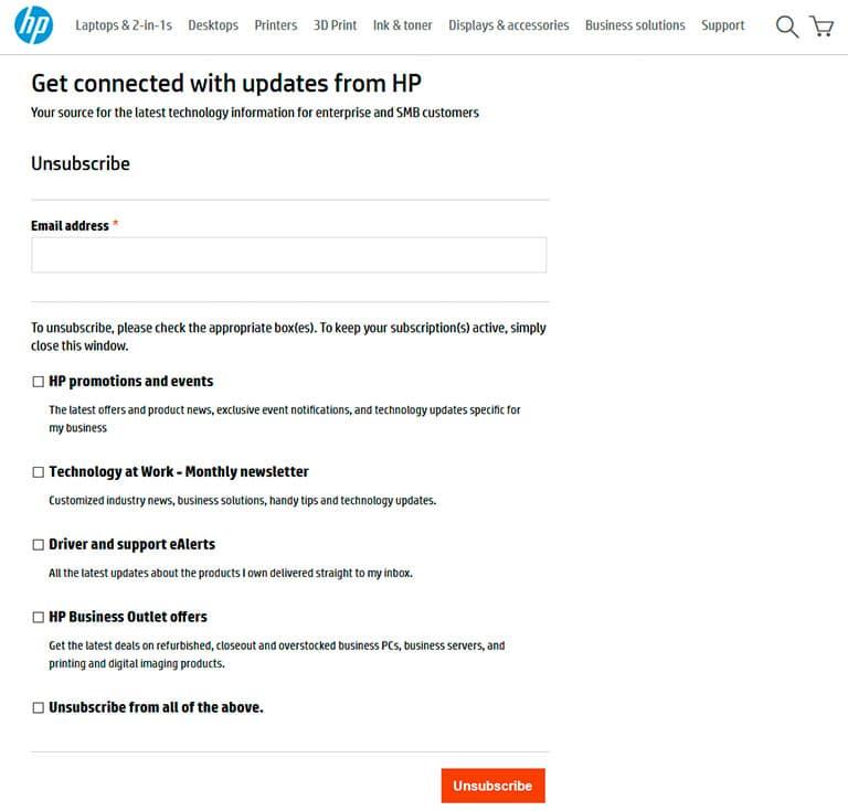 HP unsuscribe form