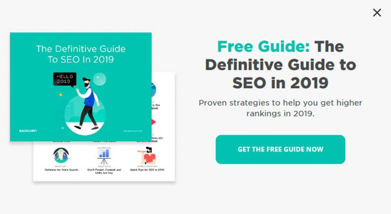 Pop Up showing how to get a free guide for SEO