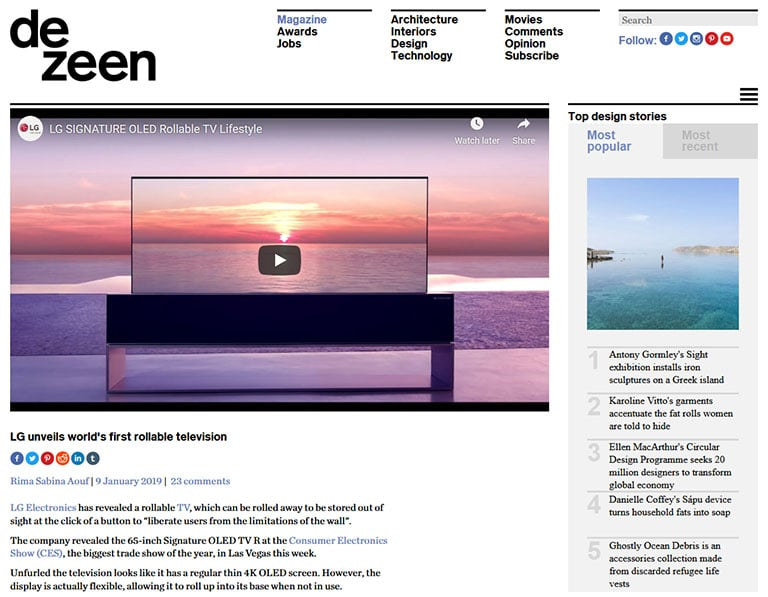 Dezeen press release featuring new LG smart TV