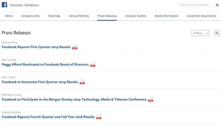 Facebook investor relations press releases list