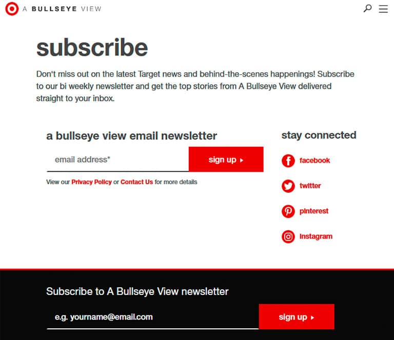 Target subscribe form