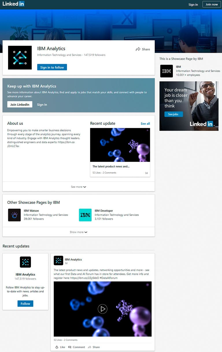 IBM Analytics Linkedin profile and feed