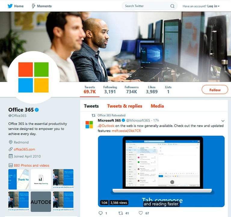 Office 365 Twitter profile and feed