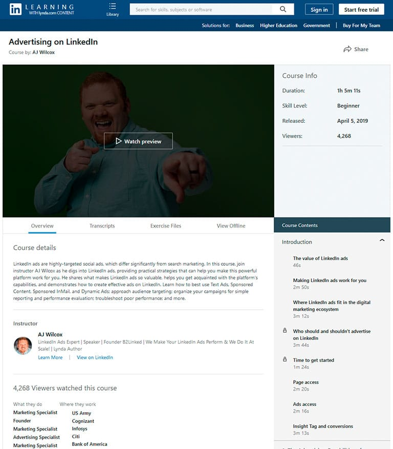 Advertising on Linkedin course by AJ Wilcox