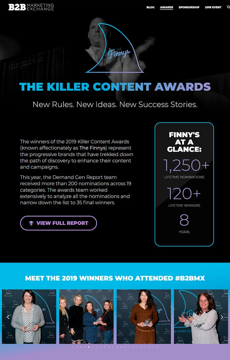 B2B Marketing Exchange Finnys Content Awards page