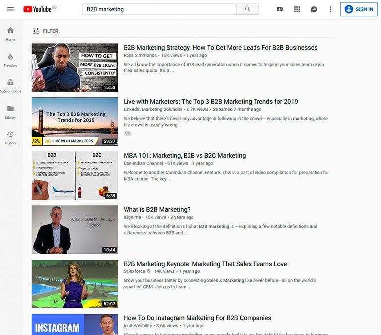 videos youtube b2b marketing types