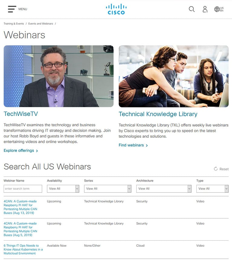 Cisco Training events and webinars page