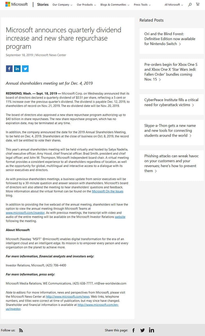 Screenshot of Microsoft's press release