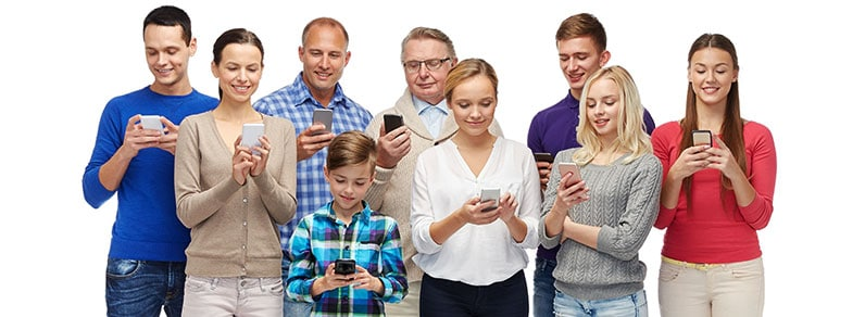 diverse group of people using smartphones