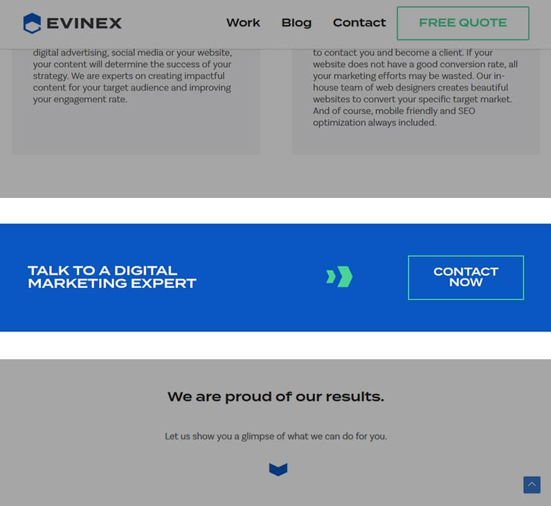 Example of call-to-action on Evinex's website