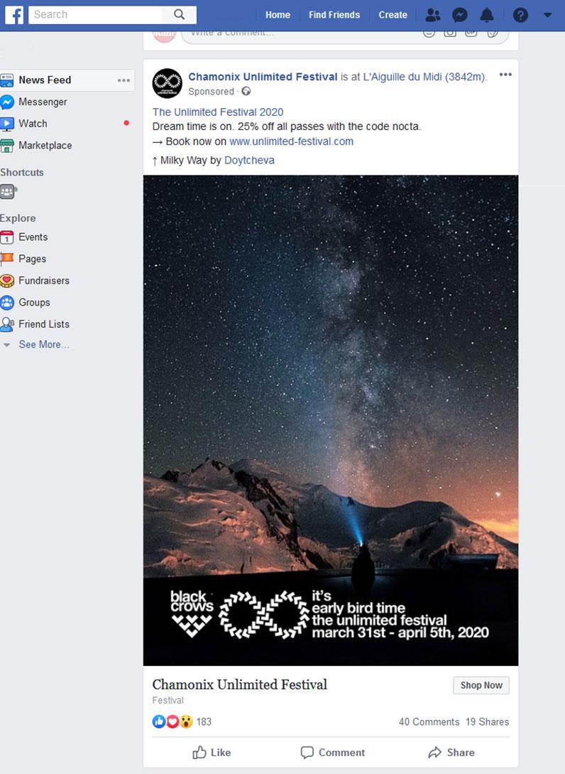Chamonix Festival ad on Facebook