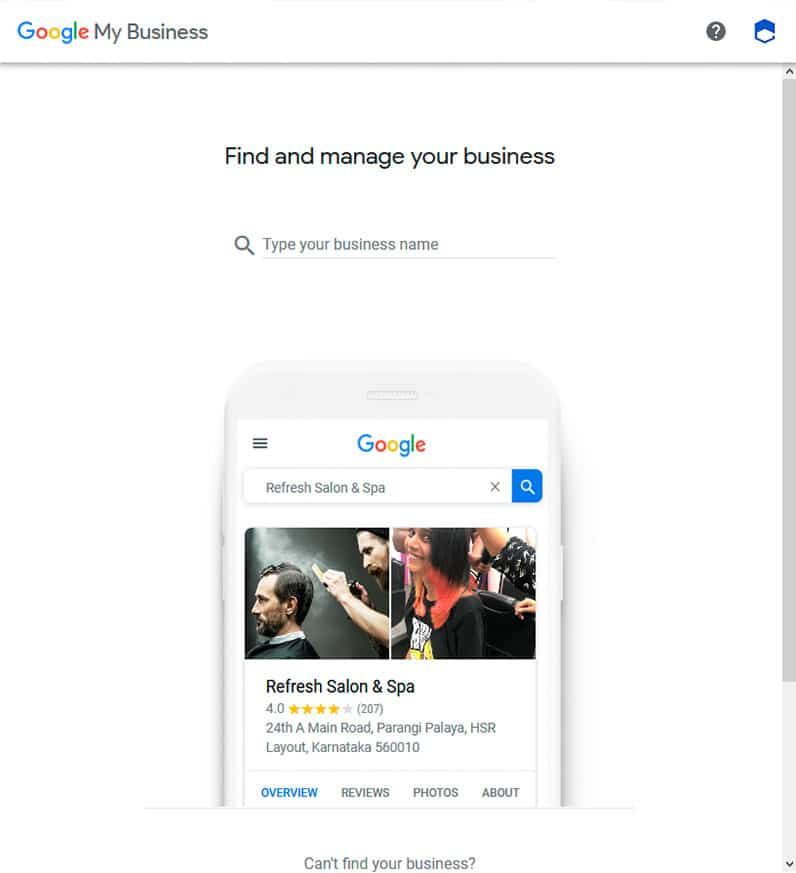 Google MyBusiness screenshot