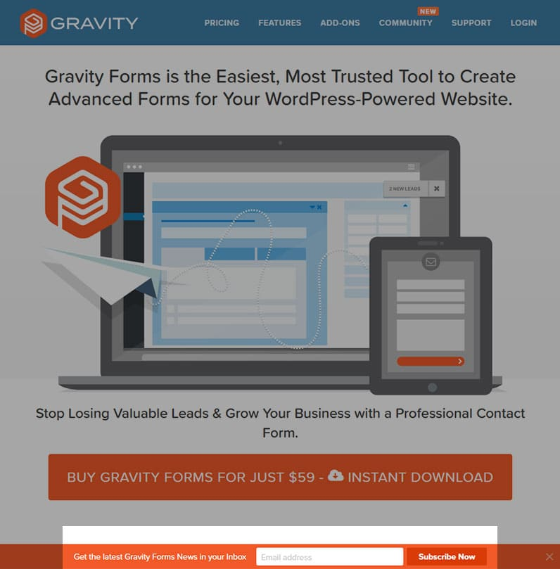 Gravity Forms website for WordPress screenshot