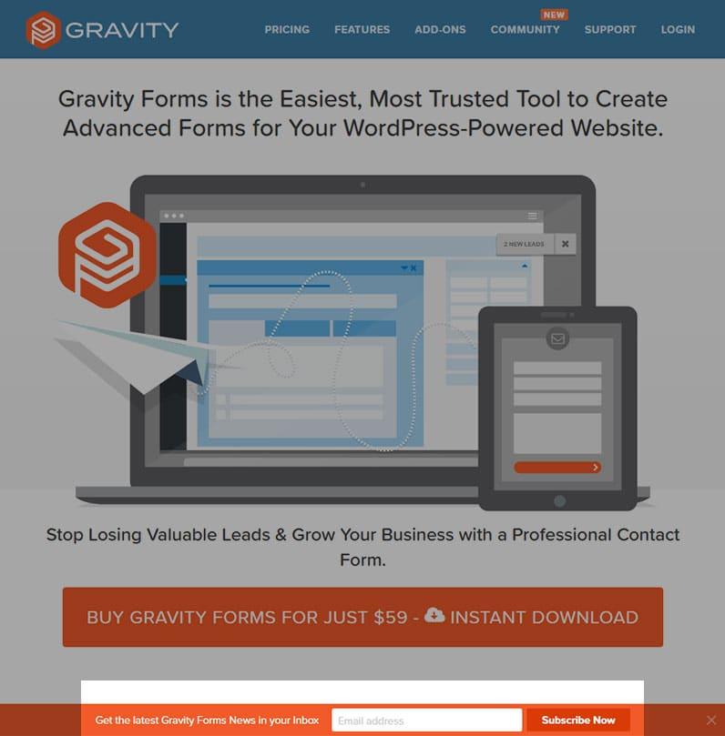 Gravity Forms website for WordPress screenshot