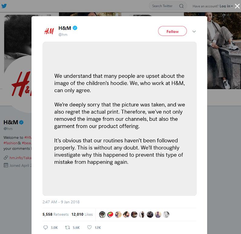 hm在Twitter屏幕上道歉