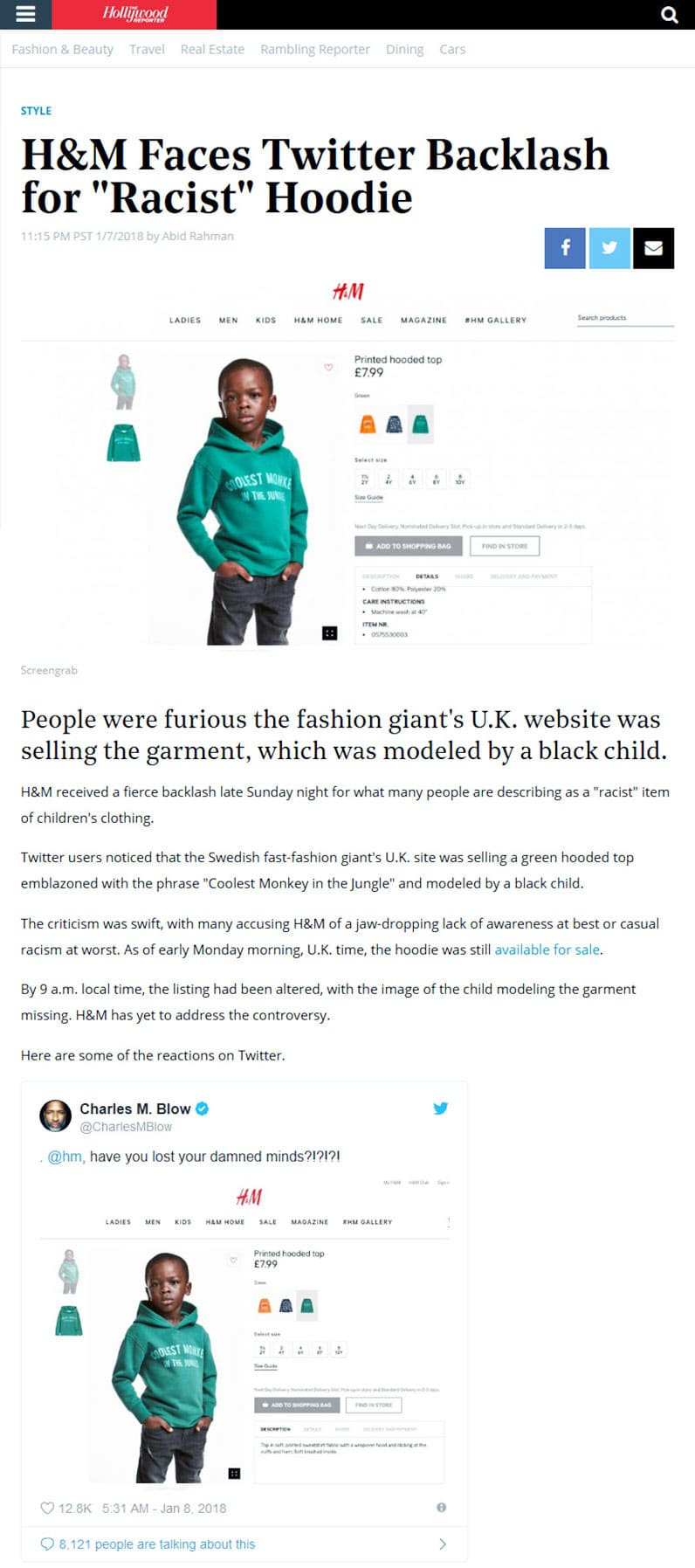 H&M Twitter Backlash Hollywood Reporter screenshot