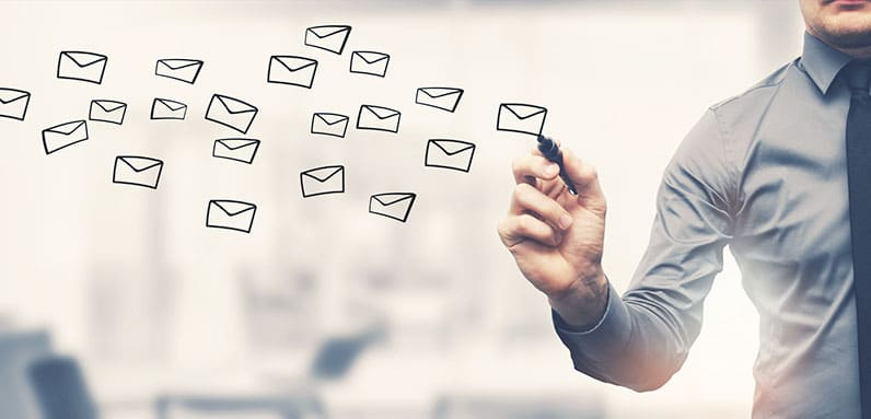 man writing email icon