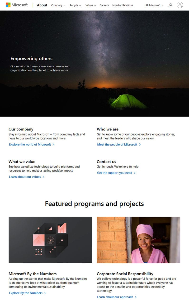 Microsoft's website about us page screenshot