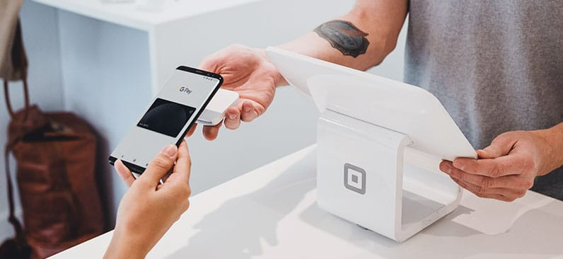 people paying with phone