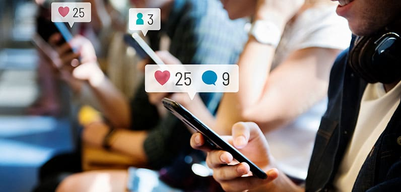 people using phone social media