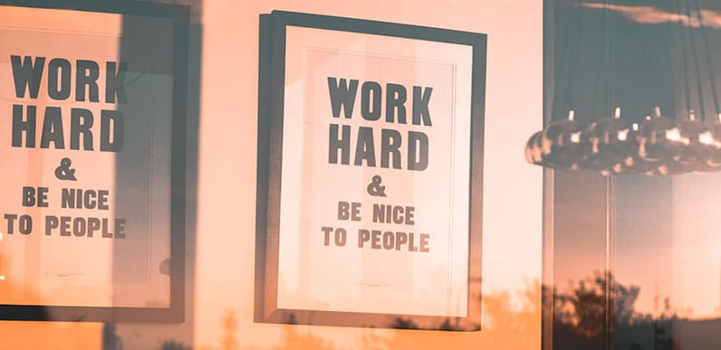 picture on wall work hard
