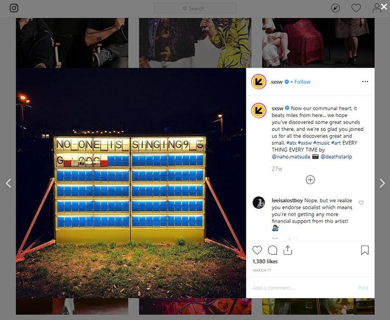 SXSW Instagram Post