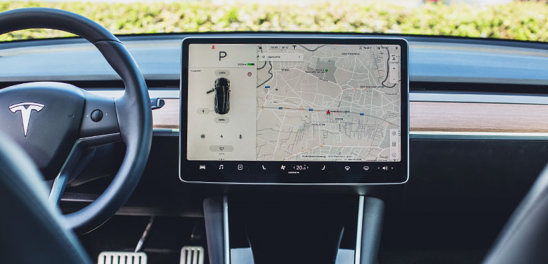 Tesla car navigation interface
