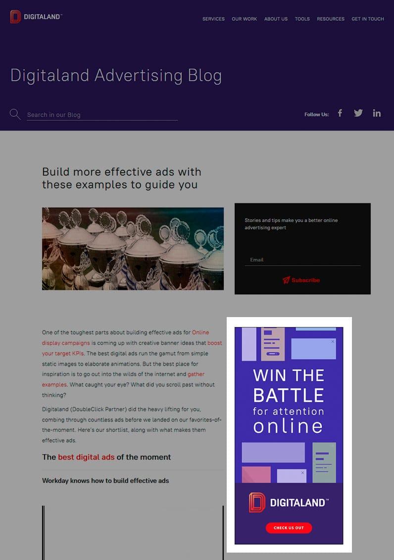 digitaland advertising blog screenshot