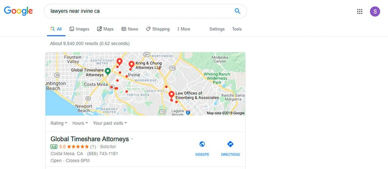 google search screenshot map