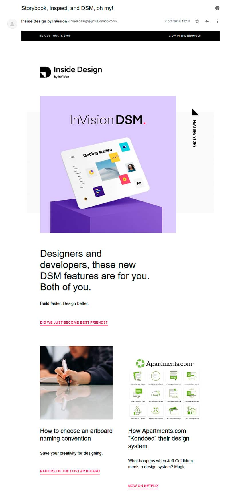 invision email screenshot
