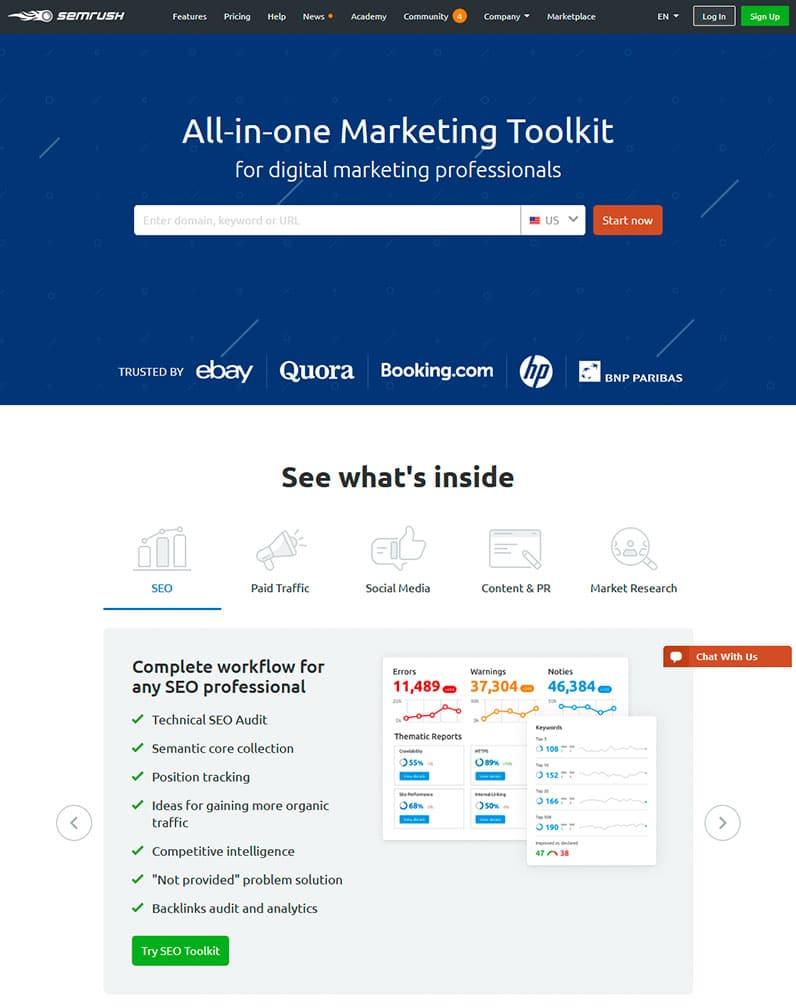 semrush homepage screenshot