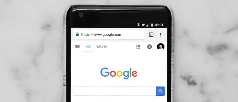 smartphone with google search engine