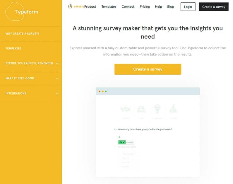 typeform surveys screenshot