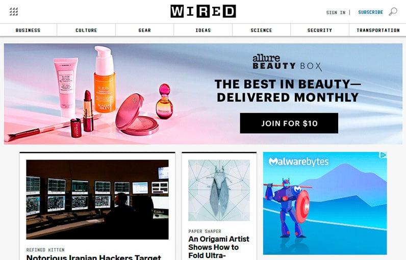 wired homepage screenshot