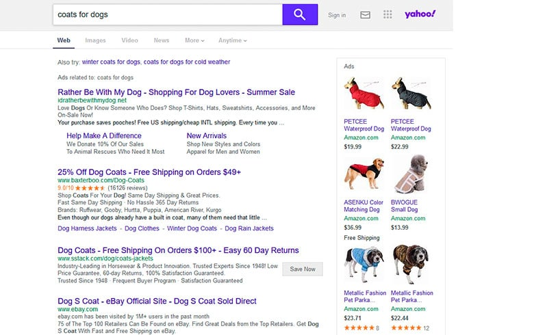 yahoo search engine screenshot