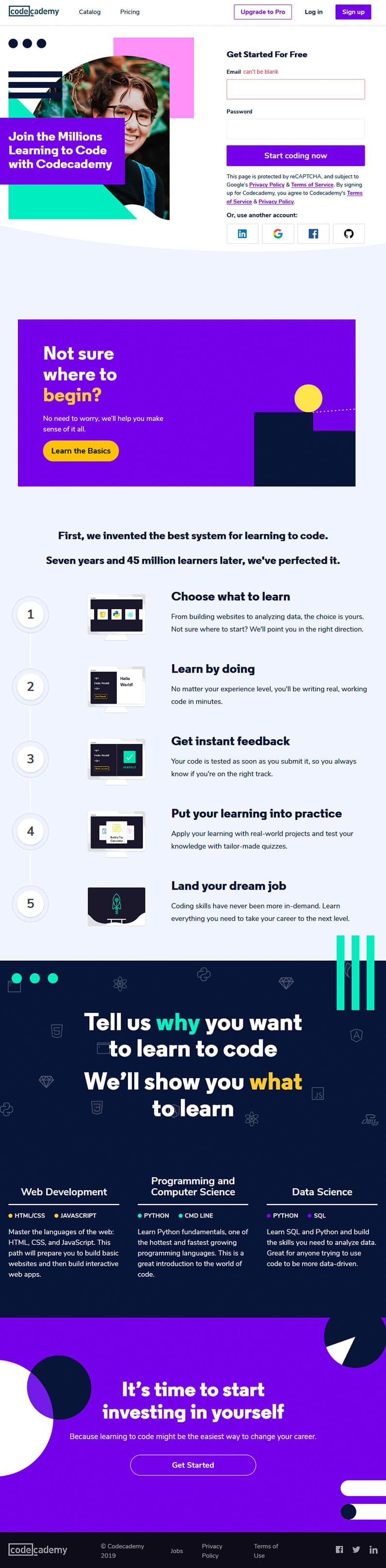 codecademy website screenshot