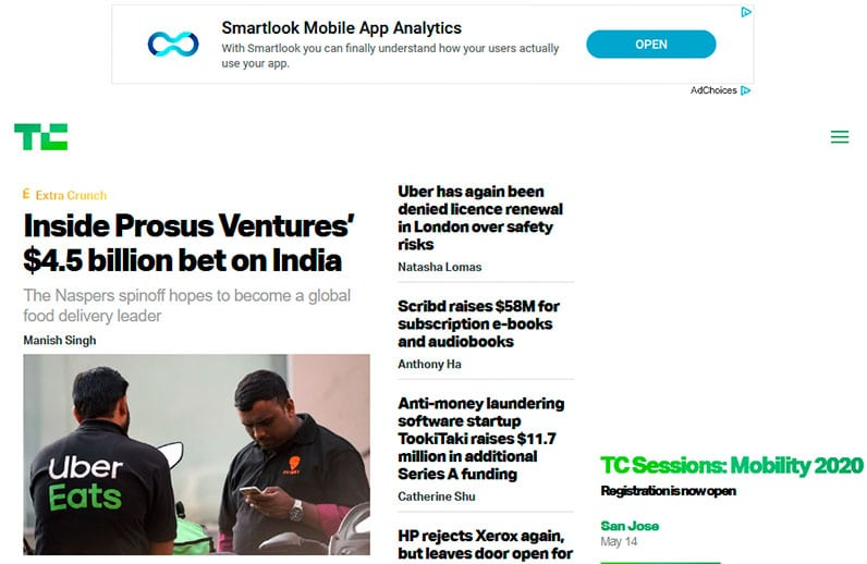 techcrunch website screenshot